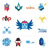Set of house with wings, thumbprint, air mail, outlaws, ferris wheel, follow me, badminton club, hazardous waste, rap icons. Set Of 13 simple editable icons such Royalty Free Stock Photo