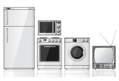 Set of household appliances. Set of realistic household appliances over white background. Additional vector format in EPS 8 Royalty Free Stock Image