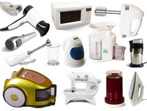 Set of  household appliances. On white background with grey shadows Stock Image