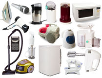 Set of  household appliances. On white background with shadows Royalty Free Stock Photography
