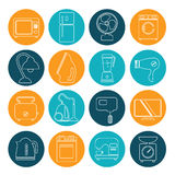 Set of household appliances contour icons on colorful round web Stock Images