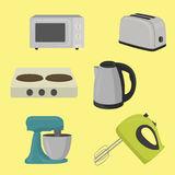 Set of household appliances design flat. Flat style vector illustration
