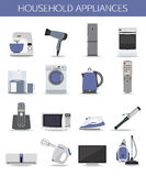 Set of household appliances and electronic devices Stock Image