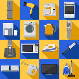 Set of household appliances and electronic devices Stock Photos