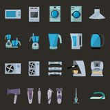 Set of household appliances flat icons Royalty Free Stock Photo
