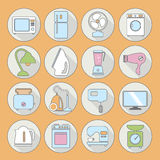 Set of household appliances flat icons on colorful round web but Royalty Free Stock Image