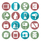 Set of household appliances flat icons on colorful round web but Stock Image