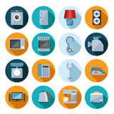 Set of household appliances flat icons. On colorful round web buttons with a washing machine  stove  fridge  speaker  iron  microwave  lamp  scale  phone Stock Photo
