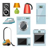 Set of household appliances flat icons. On colorful round web buttons with a washing machine stove fridge speaker iron microwave lamp television kettle Stock Photos