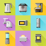 Set of household appliances flat icons. With long shadow Royalty Free Stock Image