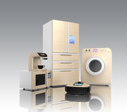 Set of household appliances on gray background Royalty Free Stock Photo