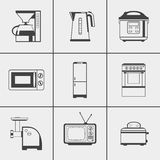 Set of household appliances icons. Set of household appliances monochrome icons on white background Royalty Free Stock Images