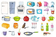 Set of household appliances and kitchenware. Set of refrigerator, dishware, pan, saucepan, utensil, microwave, toaster, kitchen scales and other. Vector Stock Photo