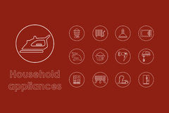 Set of household appliances simple icons Royalty Free Stock Image