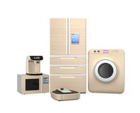 Set of household appliances on white background Stock Images