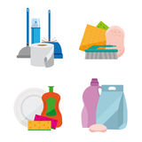 Set of household chemicals. Image objects for cleaning. Detergents, dishwashing and sanitary ware. Performed flat. White background vector illustration