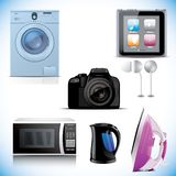 Set of household electronic elements Stock Images