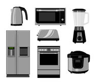 Set of household kitchen technics: Microwave and Oven, grinder. Vector drawing. Vector illustration in the flat style. Stock Photos
