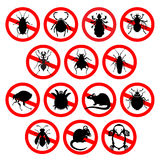 Set of household pests in pure style. Different cartoon or symbolic picture animals - set of household pests in pure vector style Royalty Free Stock Images