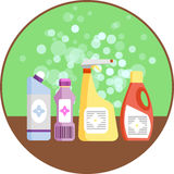 Set of household supplies. Group of detergents on the shelf. Minimal flat vector graphics. Icon for detergent plastic bottles. Con Royalty Free Stock Photography