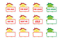 Set of houses with banner as stickers Stock Images