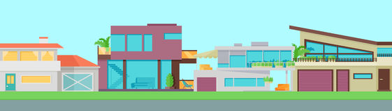 Set of Houses, Buildings and Architectures Royalty Free Stock Images