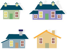 Set of Houses. Cartoon Homes Royalty Free Stock Images