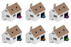 Set of houses with different cars. Insurance home, house, life, car protection. Buying house and car for family icon. 3D illustrat. Ion. Icons for the web site Royalty Free Stock Photos