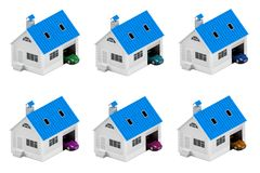 Set of houses with different cars. Insurance home, house, life, car protection. Buying house and car for family icon. 3D illustrat. Ion. Icons for the web site Royalty Free Stock Photography
