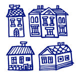 Set of houses,  doodles, sketches, Stock Photography