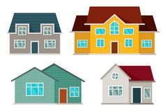Set of houses front view stock illustration