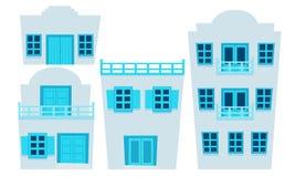 Set of houses Greece. Flat design. Vector illustration Stock Photos