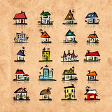 Set of houses on grunge paper, sketch for your design Royalty Free Stock Image