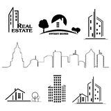 Set of houses icons for real estate business Stock Photos