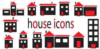 Set of houses icons vector isolated Stock Photography