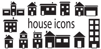 Set of houses icons vector isolated Royalty Free Stock Photography