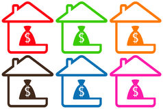 Set houses with money bag Royalty Free Stock Photos