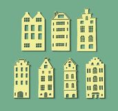 Set with houses in paper cut style. Abstract paper 3d art. Vector illustration. For your design vector illustration