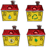 Set of houses with red roofs. Vector illustration Royalty Free Stock Photos