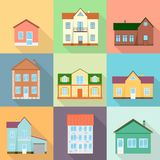 Set of houses, residential house, realistic house with a shadow. Stock Image