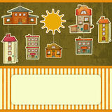 Set of Houses retro Card Stock Images