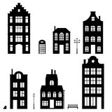 Set of houses silhouettes, on white background Royalty Free Stock Images