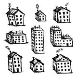 Set of houses sketch for your design Royalty Free Stock Image
