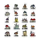 Set of houses, sketch for your design Royalty Free Stock Photo