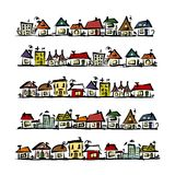 Set of houses, sketch for your design Stock Images