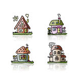 Set of houses, sketch for your design Royalty Free Stock Photography