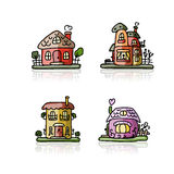 Set of houses, sketch for your design Royalty Free Stock Photos