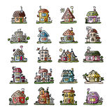 Set of houses, sketch for your design Stock Photo