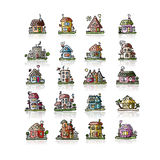 Set of houses, sketch for your design Stock Photography