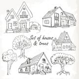 Set of houses and trees. Vector illustration Royalty Free Stock Photo